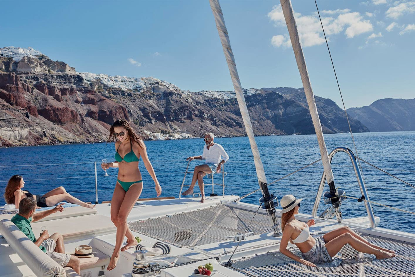 Sailing Around Santorini Caldera